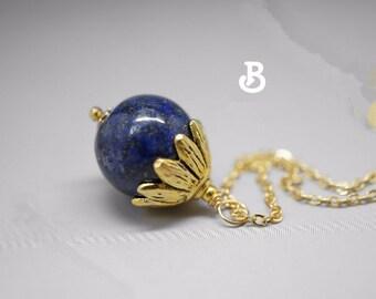 Genuine Lapis Lazuli Necklace Gold Natural Lapis Lazuli Pendant