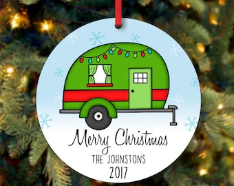 Last Name Christmas Ornament, RV Ornament, Family Christmas Ornament, Custom Ornament, 2017 Ornament, Our First Christmas (0015)