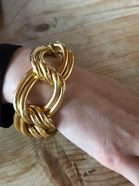 90s goldtone chunky bracelet / modernist chain link / Anne Klein
