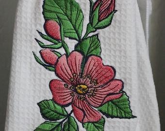 Flower Embroidered Towel, Flower Towel, Waffle Weave Towel, Embroidered Towel, Embroidered Flower, Kitchen Towel, Cream Towel, Wild Rose