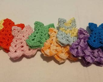 colors and white crocheted miniature crochet mini dress