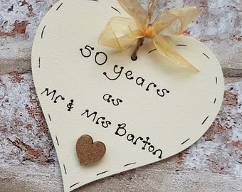 Personalised 50th Wedding Anniversary gift | Golden Wedding anniversary gift | Gift for 50th Wedding anniversary  handmade wooden heart
