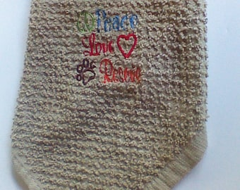 Dog Wash cloth, Handmade,Embroiderd,100% cotton, Whisker Washer #WW109