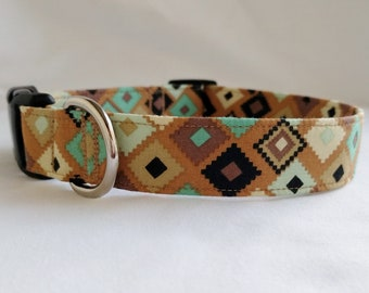 Navajo Earth Southwest Aztec- Buckle or Martingale Dog Collar-Large Breed Dog-  1- 1.5 -2 inch width Brown Black White Blue