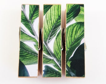 Tropical Leaf Peg Magnet - Clothespin Magnet - Paper Covered Decoupage Peg - Decorated Clothespin - Fridge Magnet - Wood Clip - Photo Holder