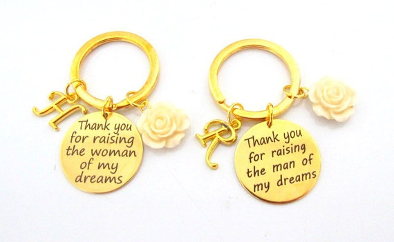 Gold Wedding Keychain,Wedding Gift for Mother In Law,Mother of groom gift,Mother of Bride gift,Thank you for Raising gift, Free Shipping USA