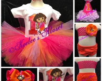 FREE SHIPPING! Dora the explorer set-mix and match, birthday shirt, tutu, hat, bow and smash cake set!