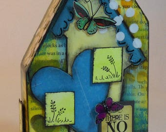 Mixed Media Wooden Houses, altered houses, mixed media altered house, mixed media art, wood block houses, assemblage art, altered art