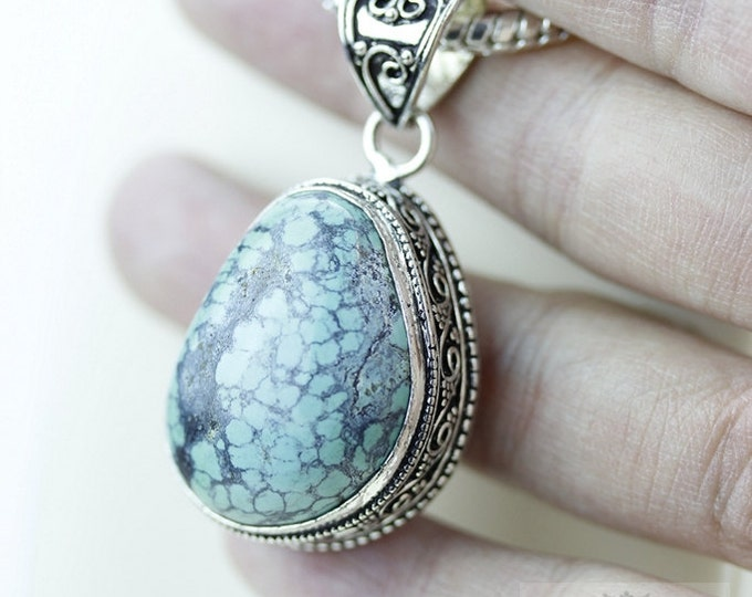 Tibet Turquoise Vintage Filigree Setting 925 S0LID Sterling Silver Pendant + 4mm Snake Chain p2615