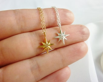Northern Star Necklace,Tiny Star Necklace,Diamond Star Necklace,Small Gold Star Necklace,Star Charm Necklace,Gold Star Necklace,MomentusNY