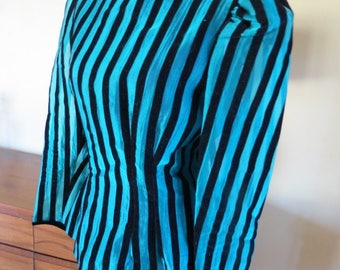 1980s Rocker Chick Striped top blouse. Teal with black velvet stripes. 6-8