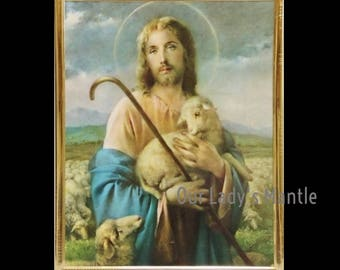 Jesus, the Good Shepherd 8x10  Framed Print Picture Art by Adolfo Simeone
