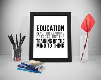 Education Is Not Learning Facts Quotes, Training Mind Prints, Teacher Classroom Decor, Education Print, Education Poster