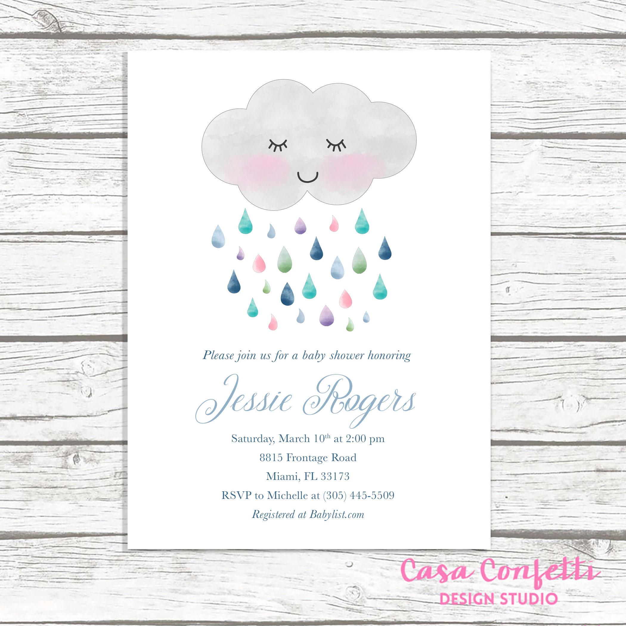 Cloud Baby Shower Invitation Rainbow Baby Shower Invitation Gender