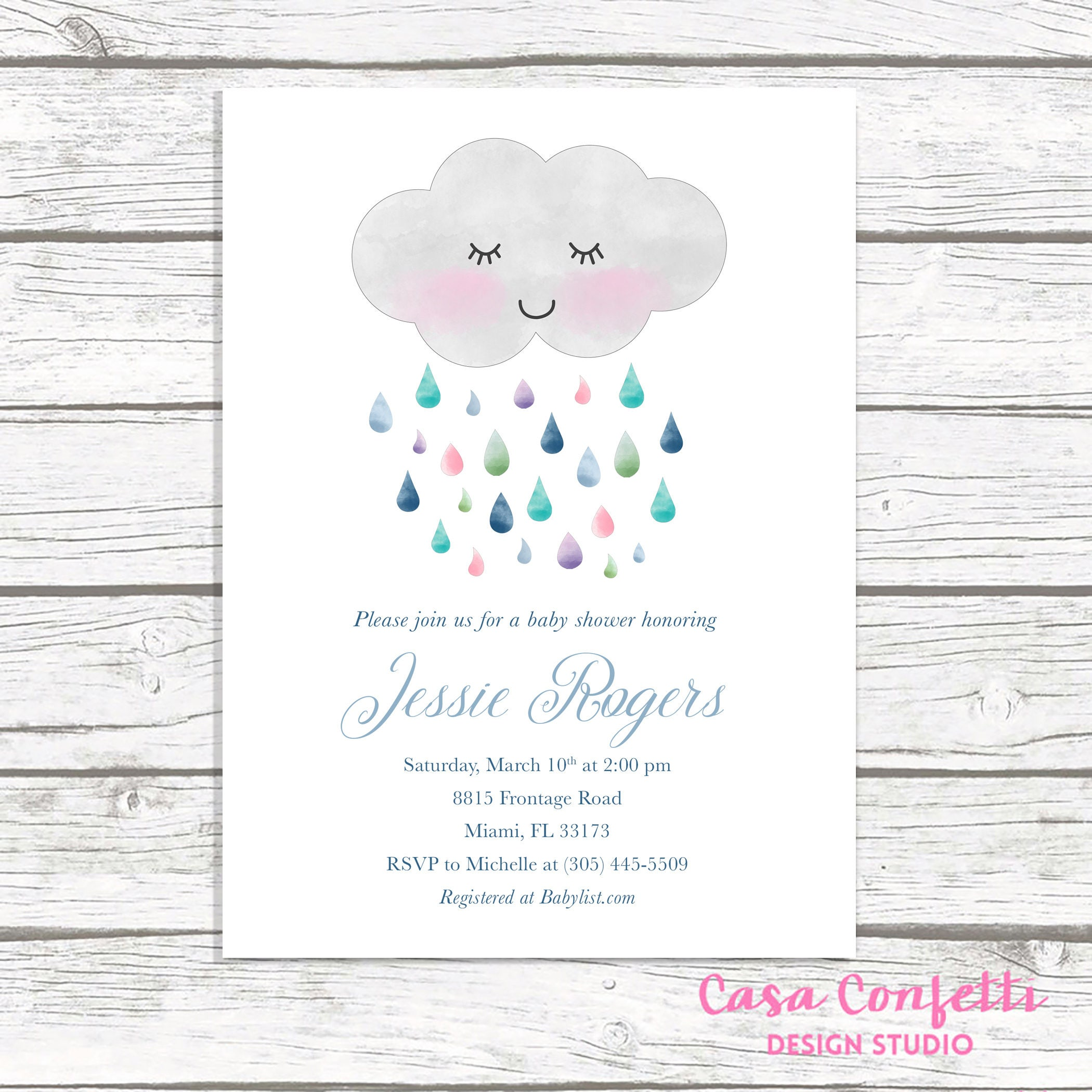 Cloud Baby Shower Invitation, Rainbow Baby Shower Invitation, Gender Neutral  Baby Shower Invitation, Baby Shower Invite, Printable Invite