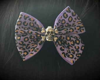 Purple leopard print hair bow