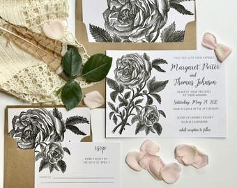 Black and White Floral Wedding Invitations, Modern Floral Invite
