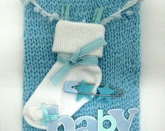 Baby Boy soft knitted card