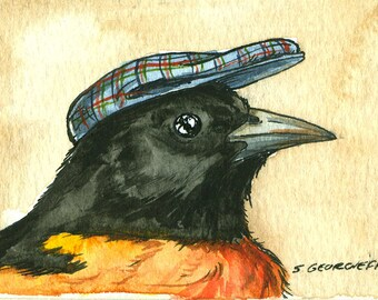Baltimore Oriole in a Hat ~ signed watercolor print