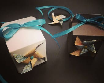 Square windmill christening, wedding, birthday favors boxes