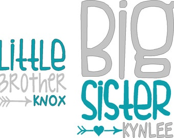 Two decals one Little sibling and one Big sibling iron on decals do it yourself tshirts not included