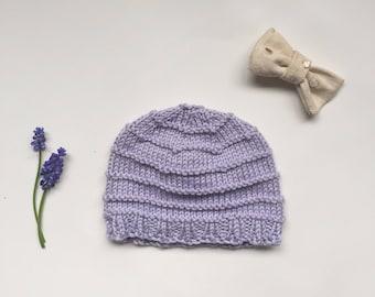 Baby hat, newborn gift, fur pom pom knit hat, hospital beanie, coming home hat, purple baby hat, cotton beanie, newborn photo