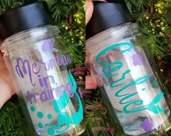Mermaid In Training Personalized Kids Water Bottle, Kids Water Bottle, Mermaid Birthday Gift, School Lunch Water Bottle, Gym Bottle