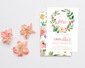 Wild One First Birthday Invitation Girl, Watercolor Flower, Boho Birthday Party (853)
