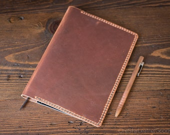 Notebook Cover, A5 size - made for Hobonichi Cousin and other similar sized notebooks, Horween Dublin - natural / black