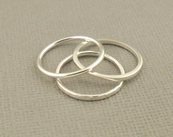 Sterling Silver Ring Set Of Three, Stacking Ring, Hammered Ring, Sterling Silver Jewellery