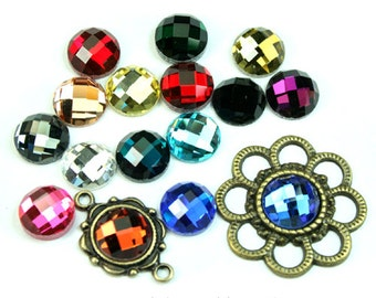 Mirror Glass Cabochon Cab Round 10mm Checker Cut Faceted Dome -Pick Your Colors- 8pcs