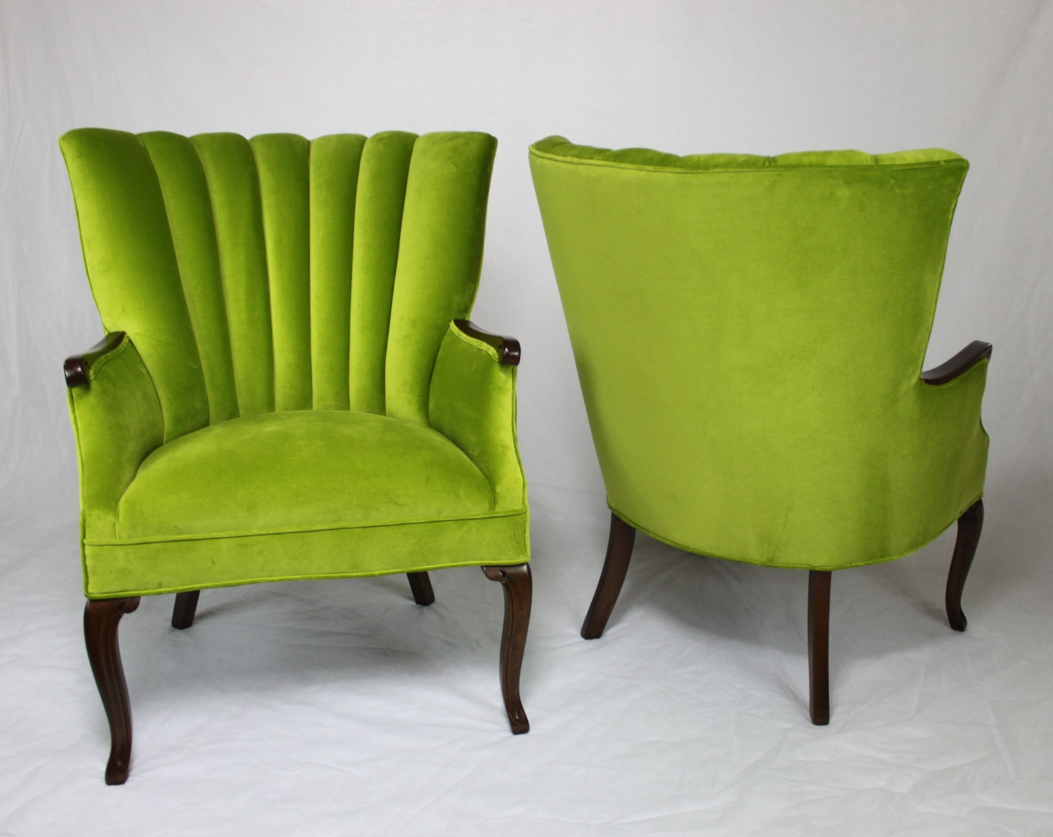 SOLD Pair Of Vintage Antique Channel Back Chairs In Apple