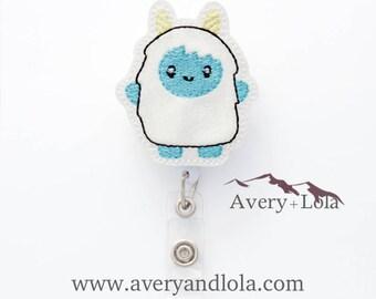 Yeti Badge Reel, Winter Badge Reel, Abominable Snowman Badge Reel, Yeti ID Holder, ID Badge Holder, Nurse Gift, Teacher Gift