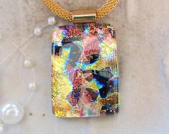 Kupfer und Gold, dichroitische Anhänger, Halskette, Glasschmuck, Gold, Kupfer, schwarz, Kette enthalten, A11