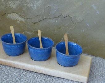 Condiment Serving Set - Handmade Stoneware Ceramic Pottery Bowls - Handmade Maple Wood Tray