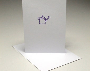 Hand Printed 'Watering Can' card - set of 5