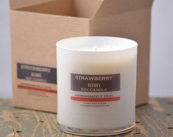 SALE - Strawberry Kiwi Soy Candle White Glass Tumbler 10oz - strawberry candle - kiwi candle - fruit soy candle - fresh scent