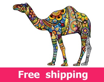 abstract camel wall decal, colorful camel wall sticker, camel decor nursery poster camel print vinyl gift animal camels art design [FL061]