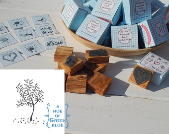 Greece Inspired Olive Wood Stamp in Box - Olive Tree