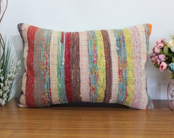 striped kilim pillow simple kilim pillow 16x24 turkish kilim pillow boho decor kilim pillow 16x24 multı color kilim pillow