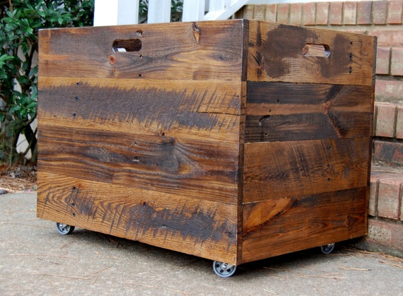 Wonderful Tall Extra Large Wooden Crate/ Toy Chest/ Large Storage Box/ Office Decor