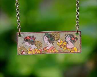 Art Nouveau Stained Glass Necklace Series: Hand Drawn Female Musicians Necklace