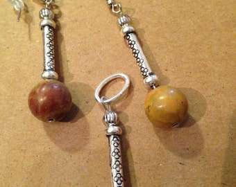Stone beads and silver trio