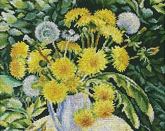 NEW UNOPENED Russian Counted Cross Stitch kit RTO M481 Sun in the jar Flowers Dandelion