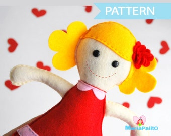 Felt Doll Pattern - Molly Rack doll Sewing pattern A493 - PREMIUM PATTERN -PDF
