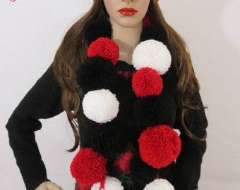 Made to Order Handmade Crochet cap with Pom Pom winter scarf , winter hat with pom pom , 3 colors , black, white and red, Valentines Gift