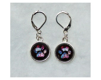 Pet Remembrance or Memorial Earrings with PawPrint in Stained Glass Colors