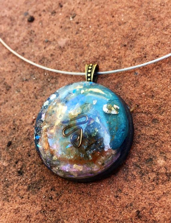 Blue Abundance Manifestation Orgone Pendant- Empath Protection Positive Light Worker Orgone Energy Necklace- Throat Chakra Orgone Charm