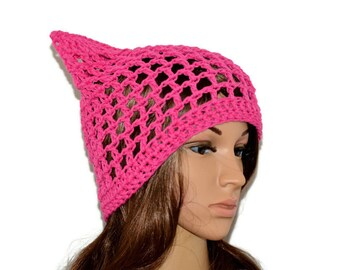 Hot Pink Pussy Cat Hat, Summer PussyHat, 100% Cotton Beanie,Pink cat hat, Pussyhat,cat beanie,cat hat ,pink pussyhat,Cat lovers gift - SALE
