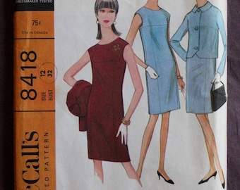 Womens 60s Dress and Jacket Drop Shoulder Yoked Sheath Dress Jackie O Vintage 1960s McCall's 8418 Sewing Pattern Size 12 Bust 32 UNCUT & FF